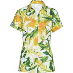 Bluzki damskie: Bluzka z nadrukiem bonprix biało-zielono-żółty z nadrukiem