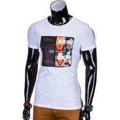 T-shirty męskie: T-SHIRT MĘSKI Z NADRUKIEM S778 – BIAŁY