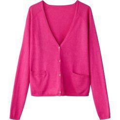Swetry rozpinane damskie: Krótki sweter rozpinany z dekoltem w serek