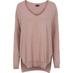 Swetry oversize damskie: Sweter w serek bonprix stary jasnoróżowy