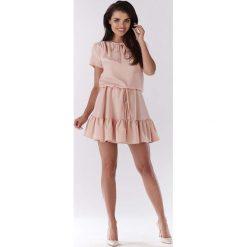Jasno Różowa Mini Sukienka w Stylu Boho z Krótkim Rękawem. Niebieskie sukienki boho marki bonprix, na spacer, na lato, w koronkowe wzory, z bawełny, dopasowane. Za 139,90 zł.