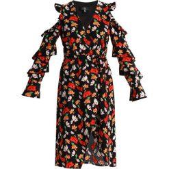 Sukienki: Missguided FLORAL FRILL DETAIL COLD SHOULDER MIDI DRESS Sukienka letnia black