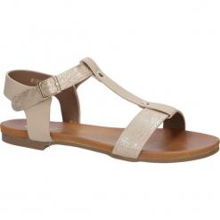 Pudrowe nude lekkie sandały damskie płaskie z paskiem przez środek Casu K18X1/P. Szare sandały damskie marki Casu, na płaskiej podeszwie. Za 39,99 zł.