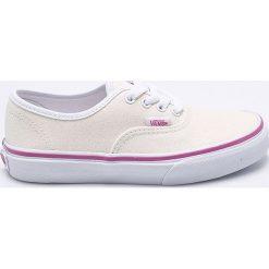 Vans - Tenisówki dziecięce Authentic. Szare buty sportowe dziewczęce marki Vans, z materiału, z okrągłym noskiem, na sznurówki. W wyprzedaży za 159,90 zł.