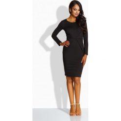 Sukienki: Elegancka sukienka z zakładką w talii czarny