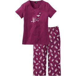 Piżama z krótkim rękawem i spodniami 3/4 bonprix jeżynowo-biały. Białe piżamy damskie bonprix, z krótkim rękawem. Za 54,99 zł.