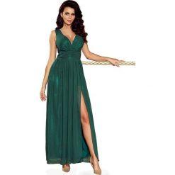 Zielona Sukienka Wieczorowa Maxi z Dekoltem V. Zielone długie sukienki marki Molly.pl, na studniówkę, l, wizytowe, z długim rękawem, dopasowane. Za 299,90 zł.