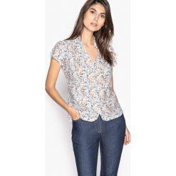 Bluzki damskie: Bluzka koszulowa z nadrukiem, lejąca krepa