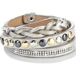 Bransoletki damskie: Bransoletka z ćwiekami bonprix beżowy metaliczny - srebrny kolor