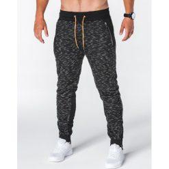 SPODNIE MĘSKIE DRESOWE P640 - CZARNE. Czarne spodnie dresowe męskie Ombre Clothing, z bawełny. Za 49,00 zł.