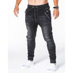 SPODNIE MĘSKIE JEANSOWE JOGGERY P404 - CZARNE. Czarne joggery męskie marki Ombre Clothing, z bawełny. Za 79,00 zł.