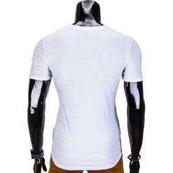 T-SHIRT MĘSKI BEZ NADRUKU S844 - POMARAŃCZOWY/GRAFITOWY. Brązowe t-shirty męskie z nadrukiem marki Ombre Clothing, m. Za 29,00 zł.