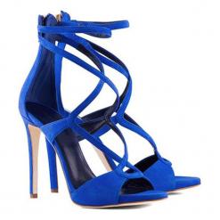 Sandały w kolorze niebieskim. Niebieskie sandały damskie BOHOBOCO, na obcasie. W wyprzedaży za 1259,95 zł.