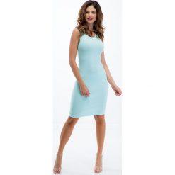 Sukienki: Miętowa prosta sukienka 3547