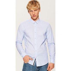 Koszula w mikrowzór - Biały. Szare koszule męskie marki House, l, z bawełny. Za 69,99 zł.