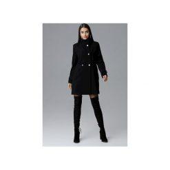 Płaszcz M623 Czarny. Szare płaszcze damskie marki FIGL, m, z bawełny, eleganckie, z asymetrycznym kołnierzem, z długim rękawem. Za 299,00 zł.