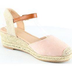 Rzymianki damskie: Sandały na koturnie w kolorze beżowym