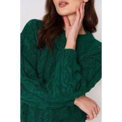 Swetry damskie: MANGO Ażurowy sweter z warkoczowym splotem - Green