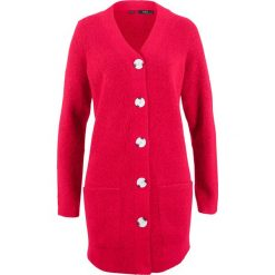 Kardigany damskie: Sweter rozpinany, długi rękaw bonprix czerwony