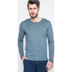 Selected - Sweter. Niebieskie swetry klasyczne męskie marki Selected, m, z aplikacjami, z bawełny, z okrągłym kołnierzem. W wyprzedaży za 89,90 zł.