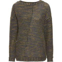 Swetry damskie: Sweter dzianinowy bonprix ciemnozielono-curry melanż
