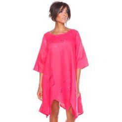 """Sukienki asymetryczne: Lniana sukienka """"Cerise"""" w kolorze koralowym"""