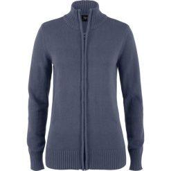 Sweter rozpinany bonprix jagodowy. Fioletowe golfy damskie bonprix, w prążki, z bawełny. Za 74,99 zł.