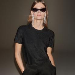 T-shirt z błyszczącą nitką - Czarny. Czarne t-shirty damskie Reserved, l. Za 69,99 zł.