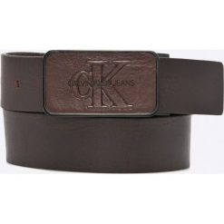 Calvin Klein Jeans - Pasek skórzany. Czarne paski męskie marki Calvin Klein Jeans, w paski, z jeansu. Za 199,90 zł.