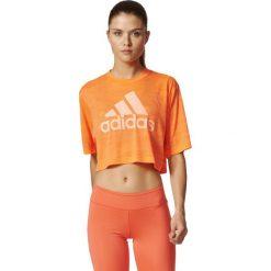 Adidas Koszulka Boxy Crop Tee Aeroknit pomarańczowy r. L (BP8188). Brązowe topy sportowe damskie Adidas, l. Za 117,87 zł.