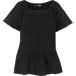 """Bluzka bawełniana """"carmen"""" z kreszowanego materiału bonprix czarny. Czarne bluzki asymetryczne bonprix, z bawełny, z kołnierzem typu carmen. Za 49,99 zł."""