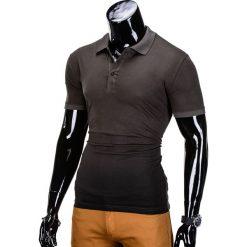 KOSZULKA MĘSKA POLO BEZ NADRUKU S834 - KHAKI. Zielone koszulki polo marki Ombre Clothing, na zimę, m, z bawełny, z kapturem. Za 29,00 zł.