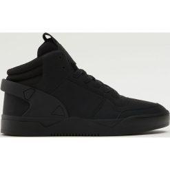 Buty zimowe męskie: Czarne botki sportowe z elastycznego materiału