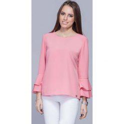 Bluzki damskie: Różowa Elegancka Asymetryczna Bluzka z Hiszpańskim Rękawem