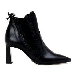 Botki damskie lity: Skórzane botki w kolorze czarnym