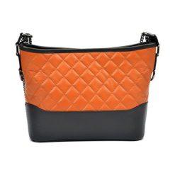 Torebki klasyczne damskie: Skórzana torebka w kolorze jasnobrązowo-czarnym – (S)22,5 x (W)34 x (G)8,5 cm