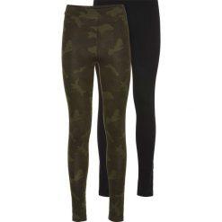 Legginsy (2 pary) bonprix zielony wzorzysty + czarny. Brązowe legginsy marki DOMYOS, xs, z bawełny. Za 75,98 zł.