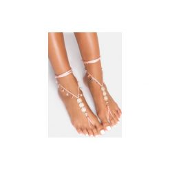 Bransoletki damskie: Różowa bransoletka na stopę Flowers