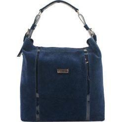 Torebki klasyczne damskie: Skórzana torebka w kolorze granatowym – (S)42 x (W)34 x (G)13 cm