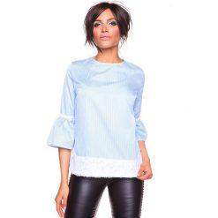 """Koszulka """"Kelly"""" w kolorze błękitnym. Niebieskie bralety La Belle Française, s, w paski, z okrągłym kołnierzem. W wyprzedaży za 152,95 zł."""
