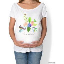 Koszulka damska, ciążowa. kwiaty i ptaki. Szare bluzki asymetryczne Pakamera, w kwiaty. Za 89,00 zł.