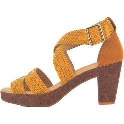 """Rzymianki damskie: Skórzane sandały """"Tahiti"""" w kolorze jasnobrązowo-musztardowym"""