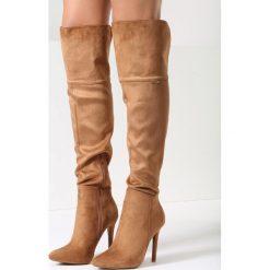 Camelowe Kozaki Soren. Brązowe buty zimowe damskie vices, ze szpiczastym noskiem, na wysokim obcasie, na obcasie. Za 149,99 zł.