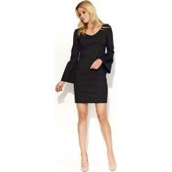 Sukienki hiszpanki: Czarna Sukienka Mini z Dzwonkowym Rękawem