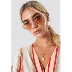 NA-KD Accessories Metalowe okulary przeciwsłoneczne - Red,Gold. Szare okulary przeciwsłoneczne damskie lenonki marki ORAO. Za 80,95 zł.