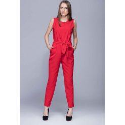Odzież damska: Czerwony Elegancki Kombinezon bez Rękawów
