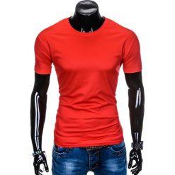 T-shirty męskie z nadrukiem: T-SHIRT MĘSKI BEZ NADRUKU S883 – CZERWONY