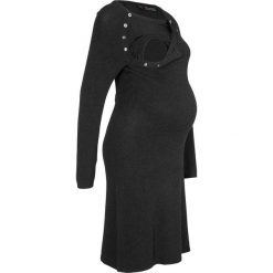 Sukienka dzianinowa ciążowa i do karmienia bonprix antracytowy melanż. Szare sukienki ciążowe bonprix, melanż, z dzianiny, z okrągłym kołnierzem. Za 109,99 zł.