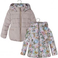 Dwustronna kurtka w kolorze beżowym ze wzorem. Brązowe kurtki dziewczęce zimowe marki Reserved, l, z kapturem. W wyprzedaży za 164,95 zł.