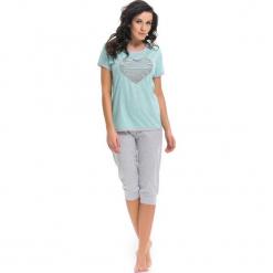 Piżama w kolorze miętowo-szarym - t-shirt, spodnie. Niebieskie piżamy damskie Doctor Nap, xl. W wyprzedaży za 74,95 zł.